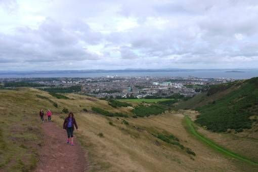Climbing up Arthur's Seat in Edinburgh