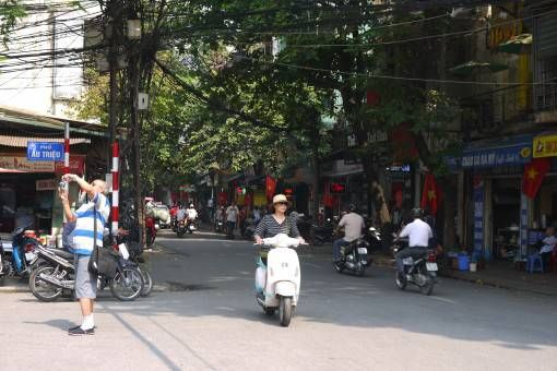 Tree and wire-lined street in Hanoi's Old Quarter