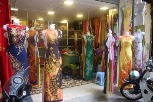 Ao Dai: Vietnamese traditional silk dresses in the Hanoi Old Quarter