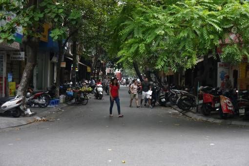 Quiet leafy street in Hanoi's Old Quarter