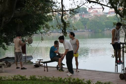 Exercising by the Lake in Hanoi