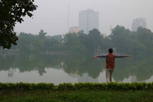 Morning exerciser at Hoan Kiem Lake in Hanoi