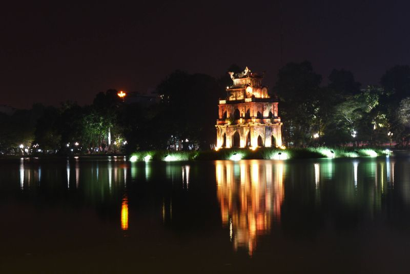 The Turtle Pagoda in Hoan Kiem Lake in Hanoi