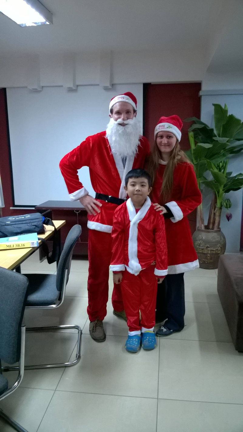 Dressing up as Santa in Vietnam