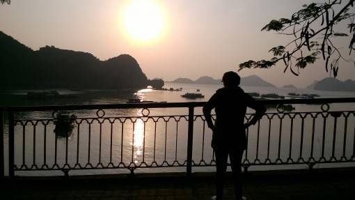 Exercising at Sunset on Cat Ba Island