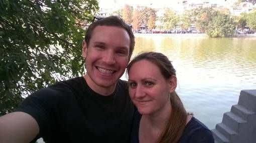 Us by Hoan Kiem Lake in Hanoi