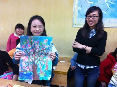 A Vitenamese Student and Her Painting of a TET Tree