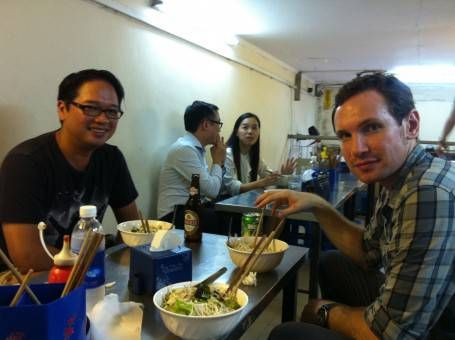 Eating at Bun Bo Nam Bo in Hanoi