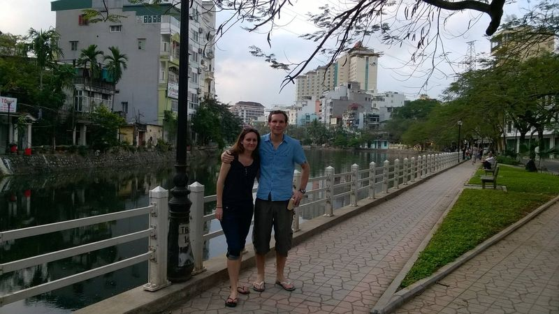 Andrew and I by the lake in Hanoi