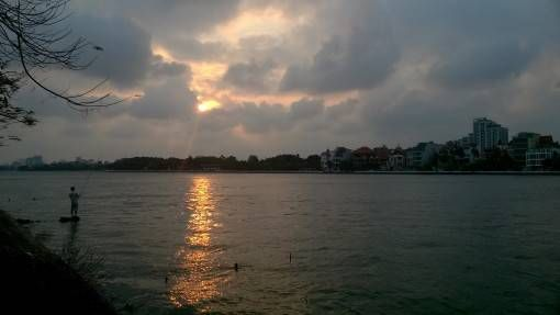 Sunset over West Lake in Hanoi