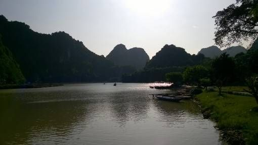 View of the river and mountains in Bird Valley, Tam Coc
