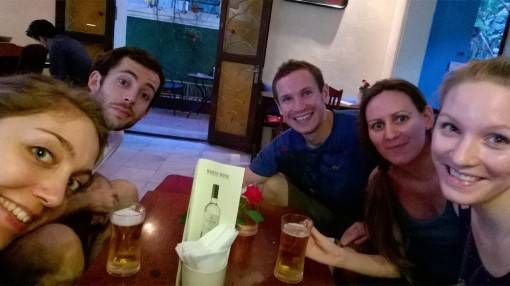 Beer with friends in Hanoi, Vietnam