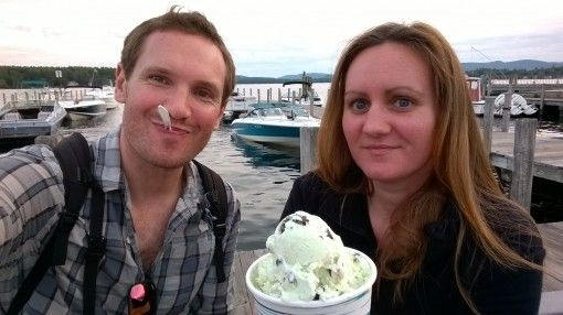 Us Enjoying Ice cream in Wolfeboro, New Hampshire