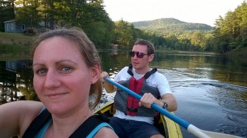 kayaking on Crystal Lake, New Hampshire