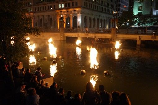 People enjoying Providence's WaterFire Festival