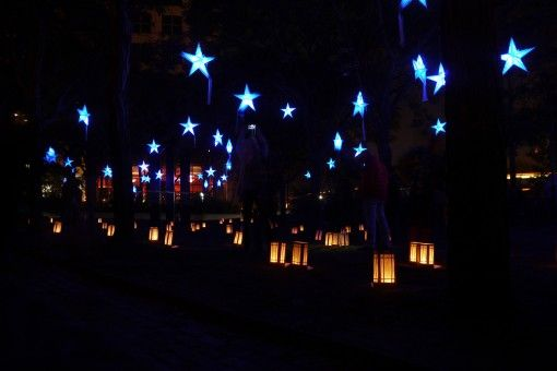 Stars and lamps at WaterFire, Providence