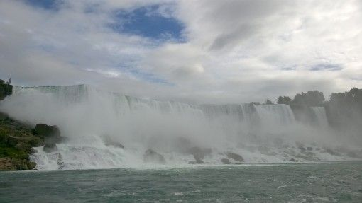 The American and Bridal Veil Falls crashing down on the rocks below at Niagara Falls