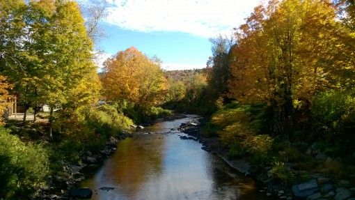 River and fall foliage in Wilmington, Vermont