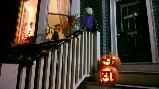 Porch decorated for Halloween in Portland, ME