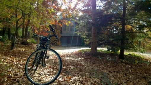 Bike and house in Cape Cod, USA