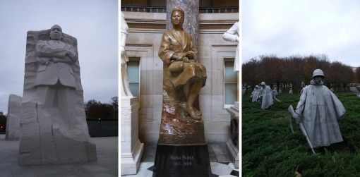 Martin Luther King Jr, Rosa Parks and Korean War Memorials in DC
