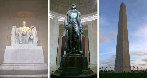 Lincoln and Jefferson Memorials and the Washington Monument in DC