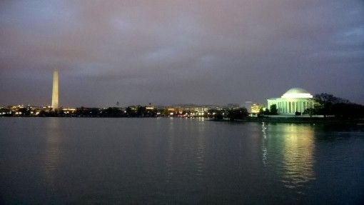Tidal Basin in Washington DC with the Jefferson Memorial and Washington Monument