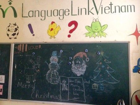 A Language Link Classroom and Blackboard in Hanoi, Vietnam