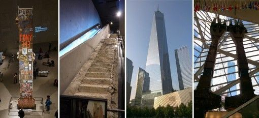 The Last Column, Survivor Stairs, One World Trade Centre and steel beams at the 9/11 Memorial Museum