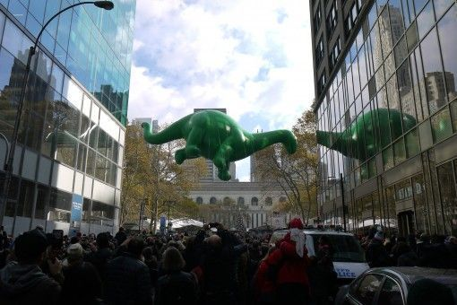 A dinosaur balloon at Macy's Thanksgiving Parade