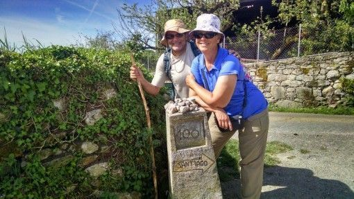 Patti and Abi walking the Camino de Santiago