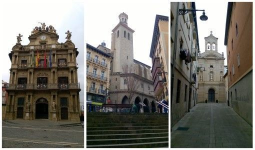 Pamplona streets and cathedrals in Spain