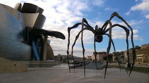 The Guggenheim Museum and Spider Sculpture in Bilbao, Spain