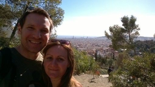 Us looking over Barcelona from Park Guell