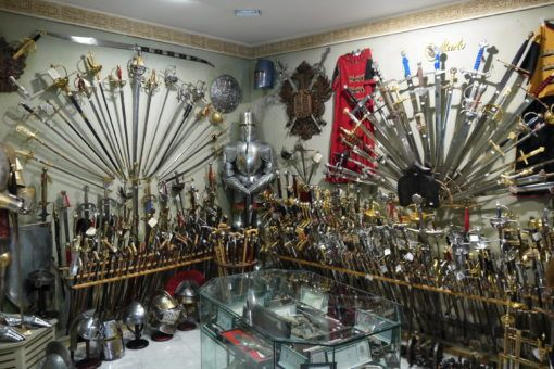 Swords in a shop in Toledo, Spain