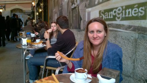 Amy enjoying Chocolate con churros at San Gines