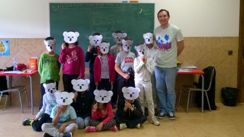 Making Koala masks at English camp in Spain