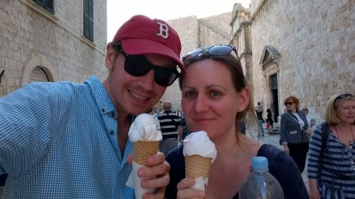 Us sampling Dubrovnik's delicious ice cream