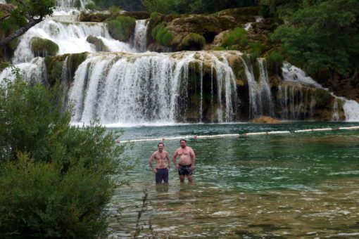 Swimming in Skradinski Buk Waterfall in Krka, Croatia