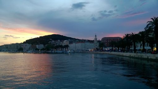 Sunset on the Riva in Split, Croatia