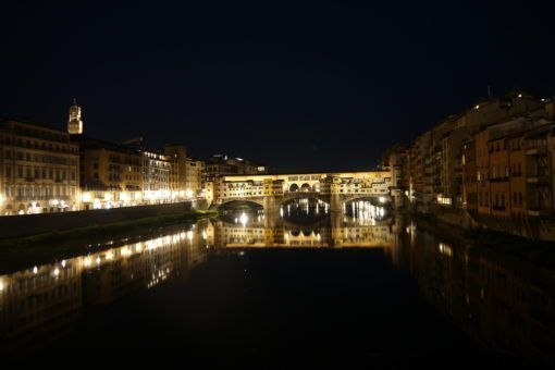 The Ponta Veccio Bridge by Night, Florence, Italy