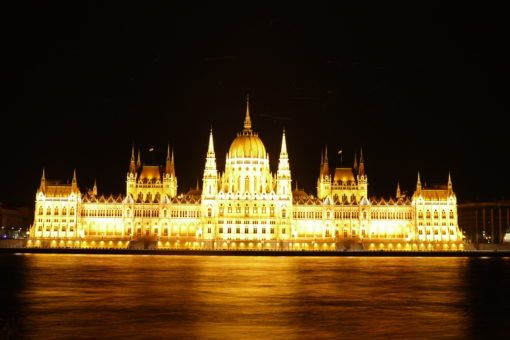 The Budapest Parliament Building lit up at Night