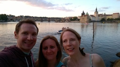 Me, Andrew and our Friend Jo by the river on our trip to Prague