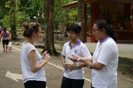 Amy being interviewed by some Thai students in Chiang Mai