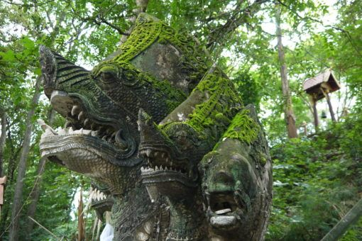 Dragon head statues in Wat Umong Temple, Chiang Mai