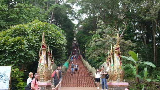 The steps leading up to Doi Suthep Temple in Chiang Mai