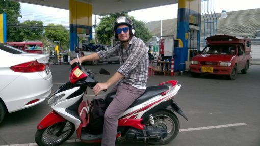 Andrew on a motorbike in Chiang Mai