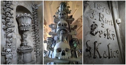 Collage of pictures of bones from the Sedlec Ossuary in Kutna Hora