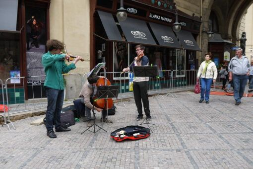 Busking string band in Prague