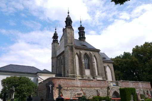 Outside view of Church of All Saints and Sedlec Ossuary in the Czech Republic